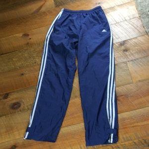Adidas nylon athletic pants Navy w/white stripes L